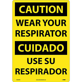 Bilingual Plastic Sign - Caution Wear Your Respirator