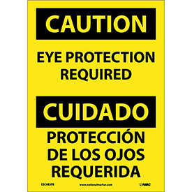 Bilingual Vinyl Sign Caution Eye Protection Required by