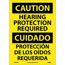 Bilingual Vinyl Sign - Caution Hearing Protection Required