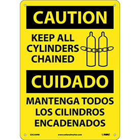 Bilingual Plastic Sign - Caution Keep All Cylinders Chained