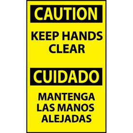 Bilingual Machine Labels - Caution Keep Hands Clear