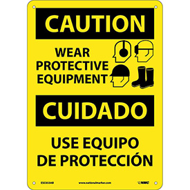 Bilingual Aluminum Sign - Caution Wear Protective Equipment