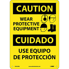 Bilingual Plastic Sign - Caution Wear Protective Equipment