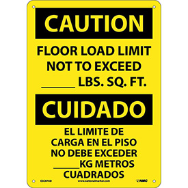 Bilingual Aluminum Sign - Caution Floor Load Limit Not To Exceed
