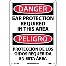 Bilingual Plastic Sign - Danger Ear Protection Required In This Area