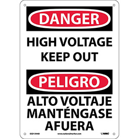 Bilingual Aluminum Sign - Danger High Voltage Keep Out