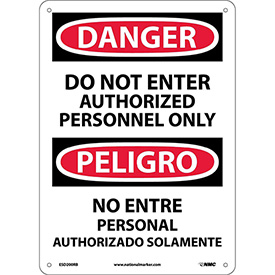 Bilingual Plastic Sign - Danger Do Not Enter Authorized Personnel Only