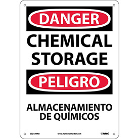 Bilingual Aluminum Sign - Danger Chemical Storage