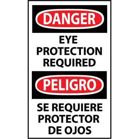 Click here to buy Bilingual Machine Labels Danger Eye Protection Required.