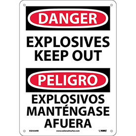 Bilingual Plastic Sign - Danger Explosives Keep Out