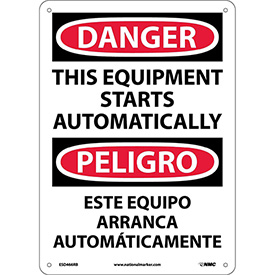 Bilingual Plastic Sign - Danger This Equipment Starts Automatically