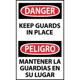 Bilingual Machine Labels - Danger Keep Guards In Place