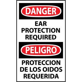 Bilingual Machine Labels Danger Ear Protection Required by