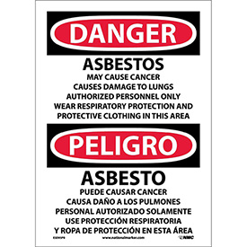 Bilingual Vinyl Sign - Danger Asbestos Cancer And Lung Disease Hazard