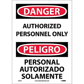 Bilingual Vinyl Sign - Danger Authorized Personnel Only