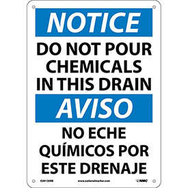 Bilingual Plastic Sign - Notice Do Not Pour Chemicals In This Drain