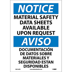 Bilingual Vinyl Sign - Notice Material Safety Data Sheets Available Upon Request