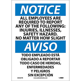 Bilingual Vinyl Sign - Notice All Employees Are Required To Report The Following
