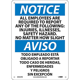 Bilingual Plastic Sign - Notice All Employees Are Required To Report