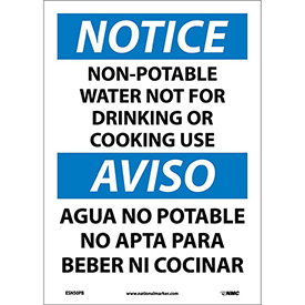 Bilingual Vinyl Sign - Notice Non-Potable Water Not For Drinking Use