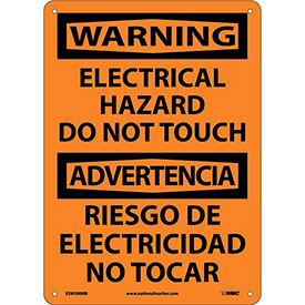 Bilingual Plastic Sign - Warning Electrical Hazard Do Not Touch