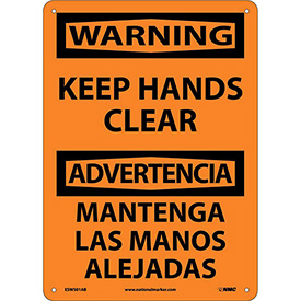 Bilingual Aluminum Sign - Warning Keep Hands Clear