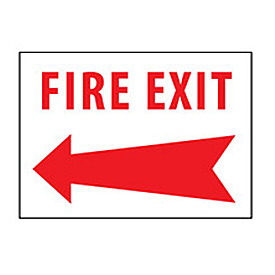 Fire Safety Sign - Fire Exit with Left Arrow - Plastic