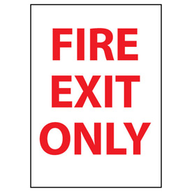 Fire Safety Sign - Fire Exit Only - Vinyl