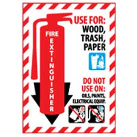Fire Extinguisher Class Marker - Use For Wood, Trash, Paper - Plastic