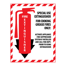 Fire Extinguisher Class Marker - Special Use For Cooking Grease Fires - Vinyl