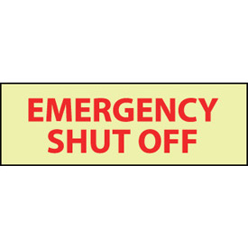 Glow Sign Rigid Plastic - Emergency Shut Off