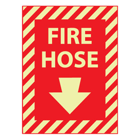 Glow Sign Rigid Plastic - Fire Hose(With Down Arrow)