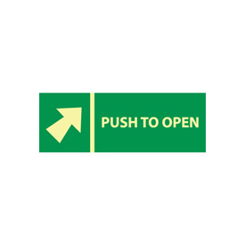 Glow Sign Vinyl - Push Bar To Open(w/ Arrow)