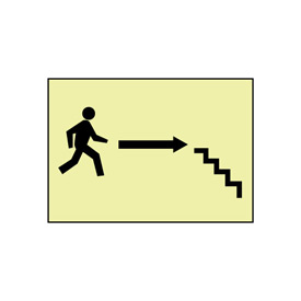 Glow Sign Rigid Plastic - Stairs Right Arrow Man