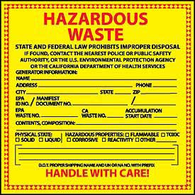 Hazardous Waste Vinyl Labels - State of California