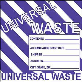 Hazardous Waste Vinyl Labels - Universal Waste (Striped)