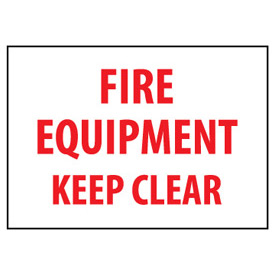 Fire Safety Sign - Fire Equipment Keep Clear - Vinyl