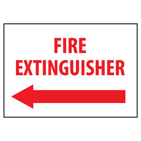 Fire Safety Sign Fire Extinguisher with Left Arrow Plastic by