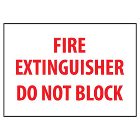 Fire Safety Sign Fire Extinguisher Do Not Block Plastic by
