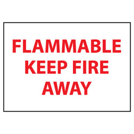 Fire Safety Sign Flammable Keep Fire Away Plastic by