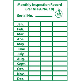 Monthly Inspection Record Label