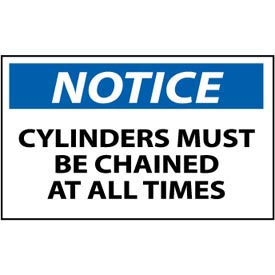 Machine Labels - Notice Cylinders Must Be Chained At All Times