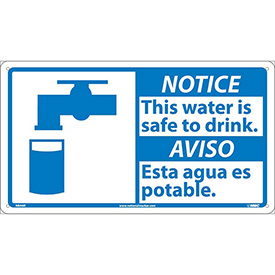 Bilingual Plastic Sign - Notice This Water Is Safe To Drink