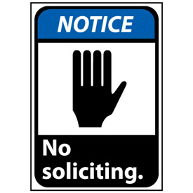 Notice Sign 14x10 Rigid Plastic - No Soliciting
