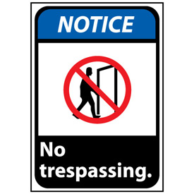 Notice Sign 14x10 Rigid Plastic - No Trespassing