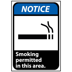 Notice Sign 14x10 Vinyl - Smoking Permitted In This Area