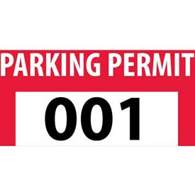 Parking Permit - Red Bumper Decal 001 -100