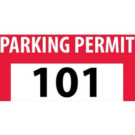 Parking Permit - Red Bumper Decal 101 - 200