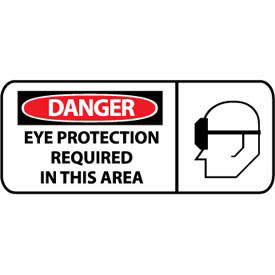 Pictorial OSHA Sign Vinyl Danger Eye Protection Required In This Area by
