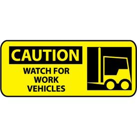 Pictorial OSHA Sign - Plastic - Caution Watch For Work Vehicles